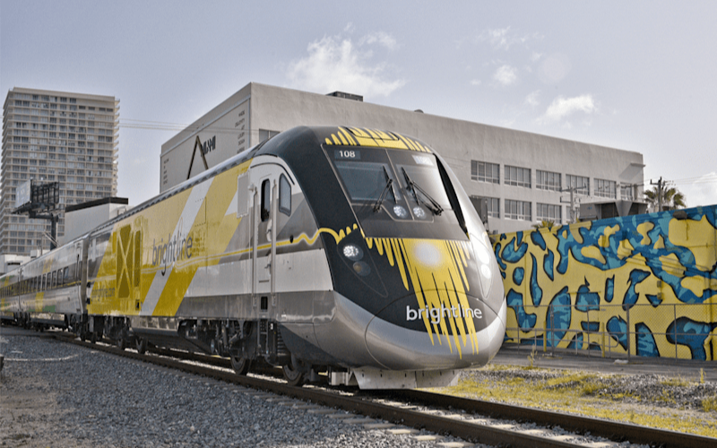 Brightline branded train