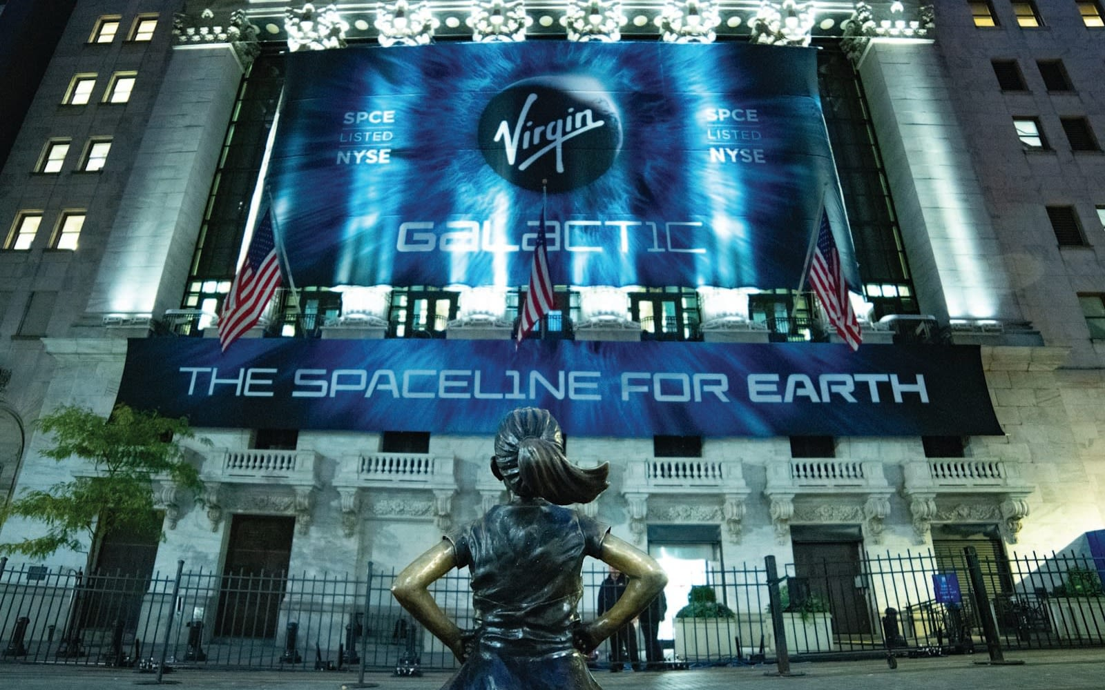 Virgin Galactic signs outside the New York Stock Exchange