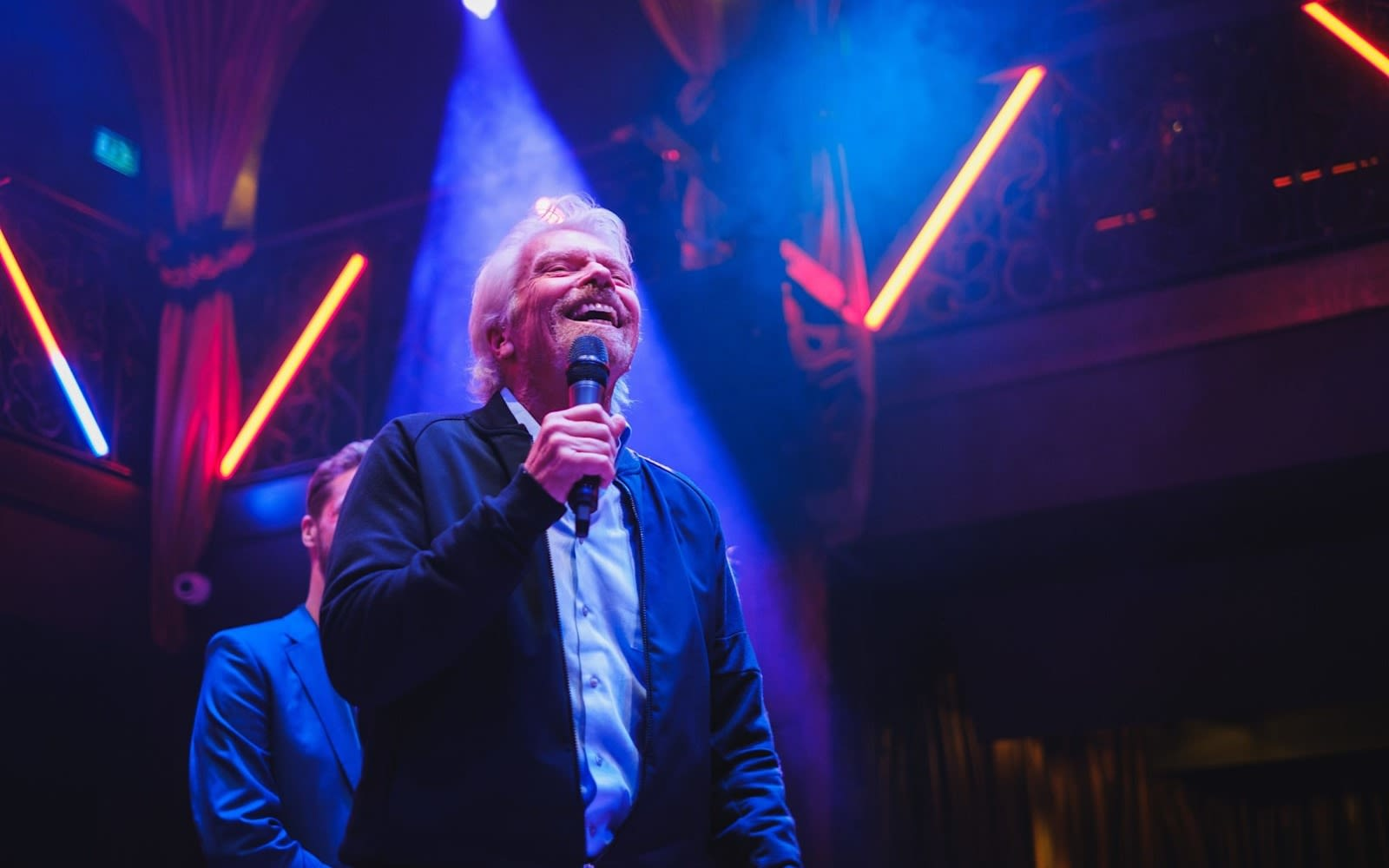 Richard Branson giving a speech at the 2019 Virgin Stars of the Year Awards