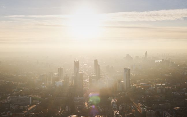 Pollution showing over London