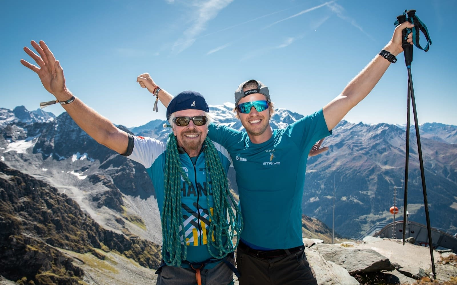 Richard Branson on the mountains during stive challenge