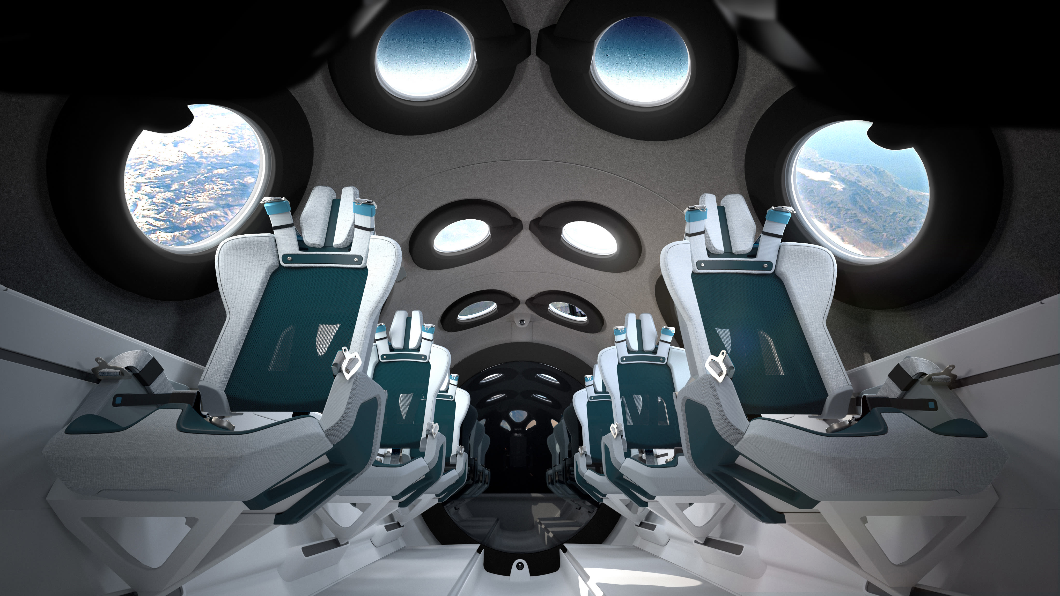 view of Virgin Galactic's Spaceship Cabin Interior