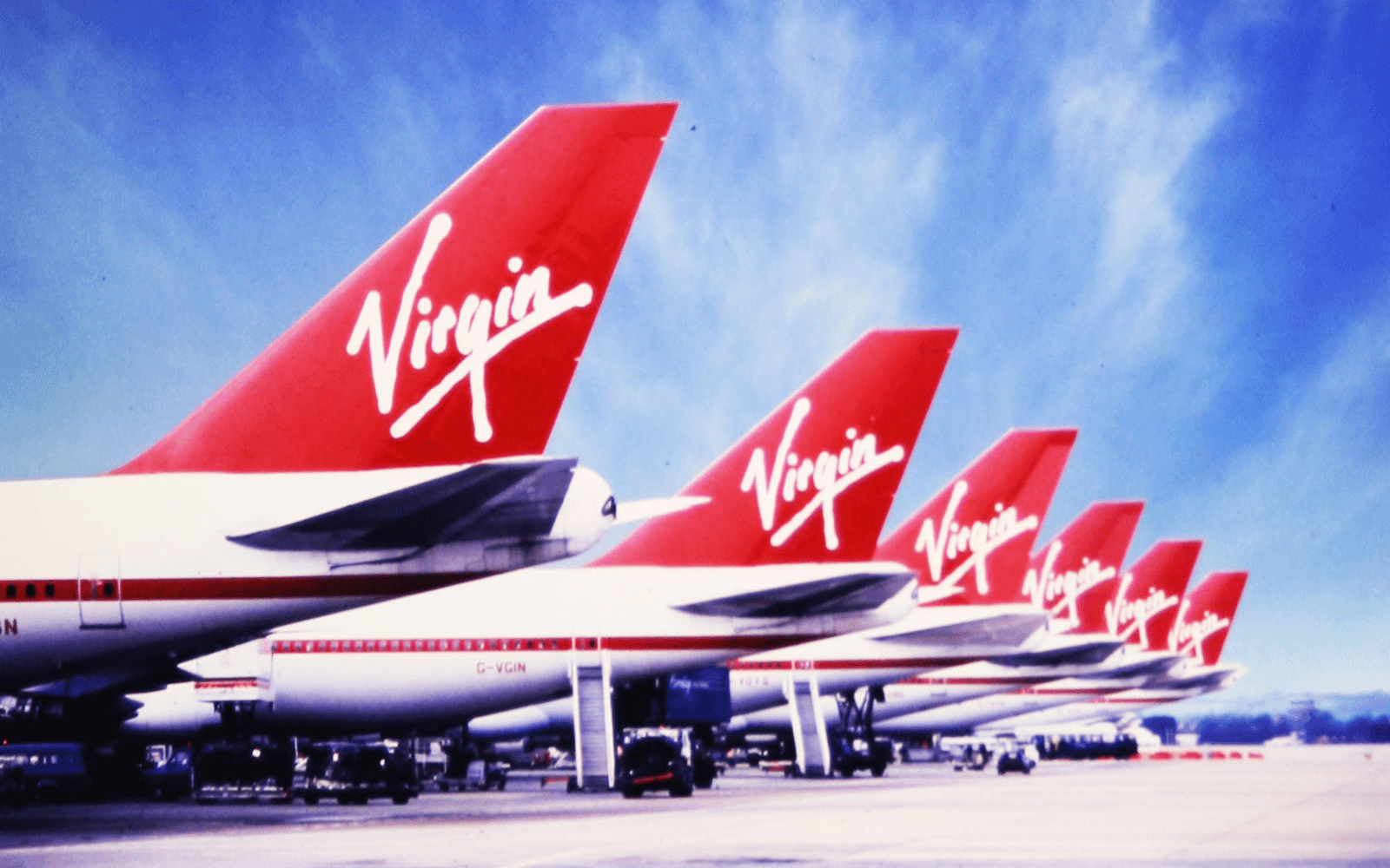A row of Virgin Atlantic historic livery