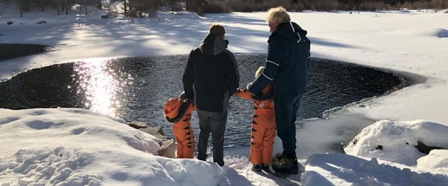 Richard Branson with Sam and the grandchildren at a frozen lake in Aspen