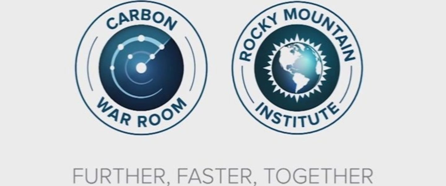 Carbon War Room logo  and Rocky Mountain Institute logo adjacent to each other with 'Further, Faster, Together' written beneath