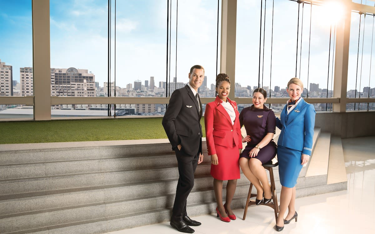 Cabin crew from Virgin Atlantic, Delta, Air France and KLM