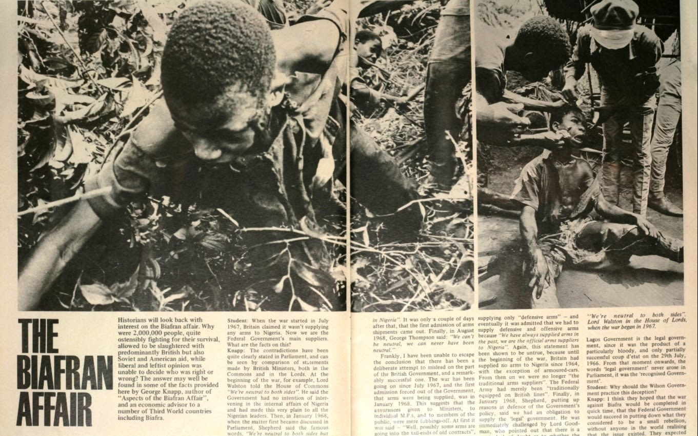 Double page spread from Student Magazine on Biafran Affair