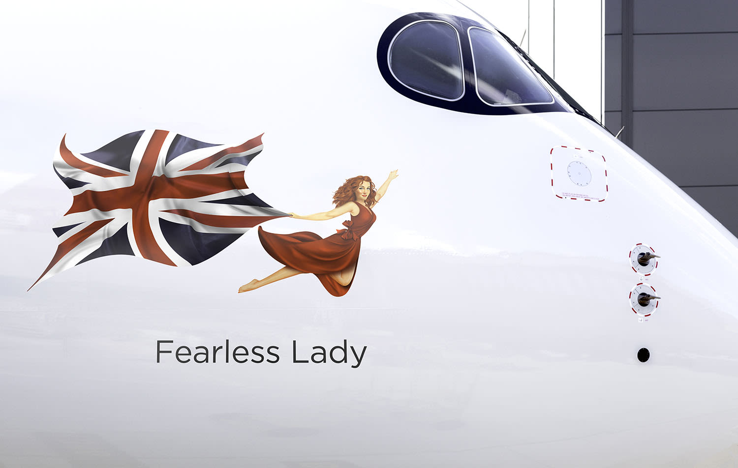 The Fearless Lady flying icon on Virgin Atlantic's plane