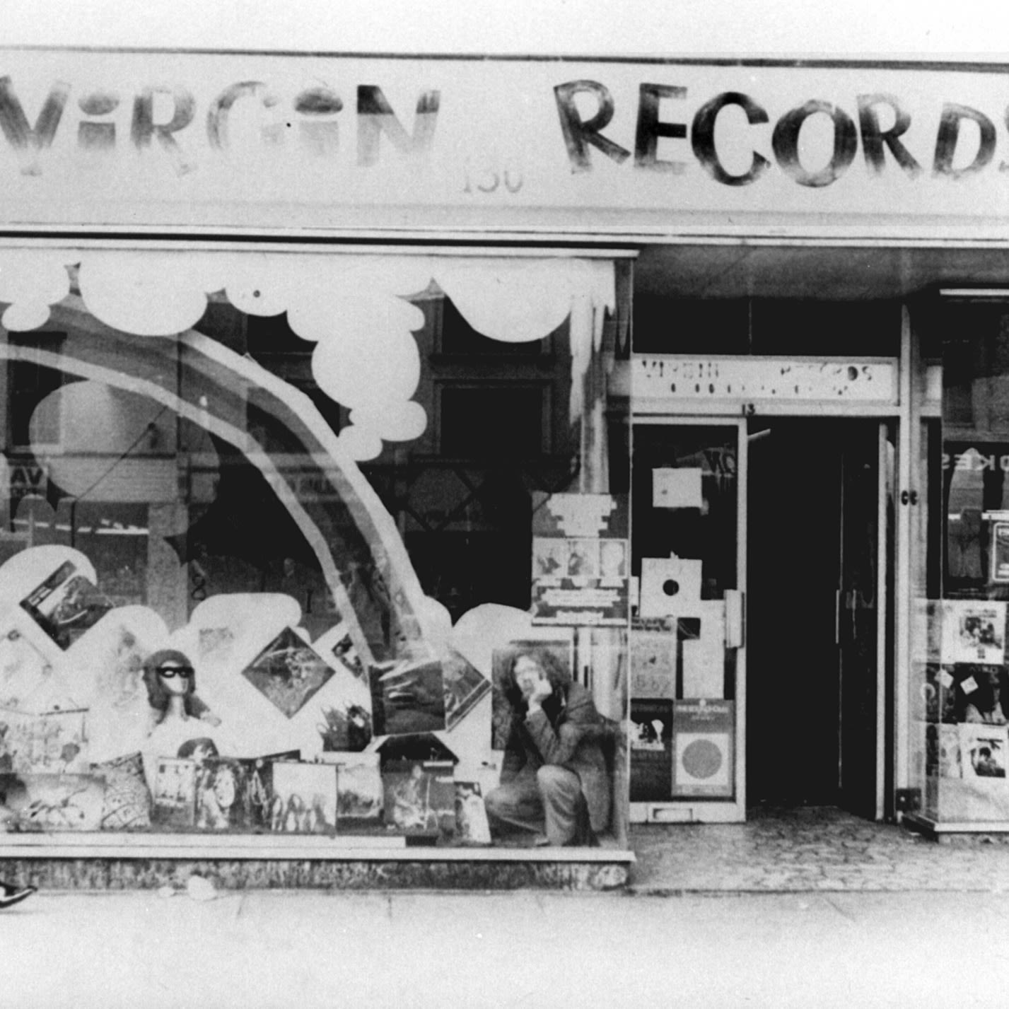 Shop front of Virgin Records years ago in black and white