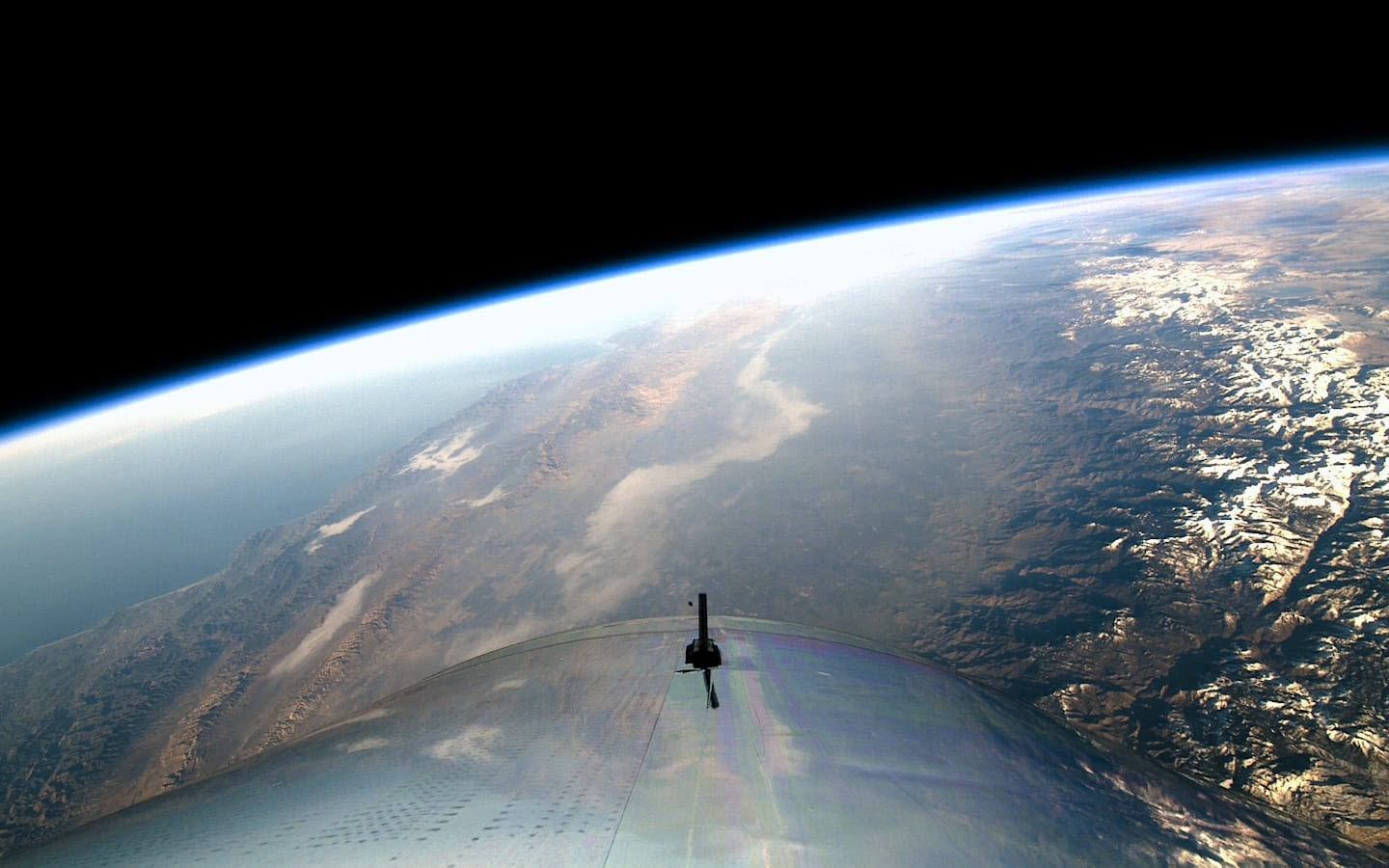 The view from a Virgin Galactic spaceship looking down on earth
