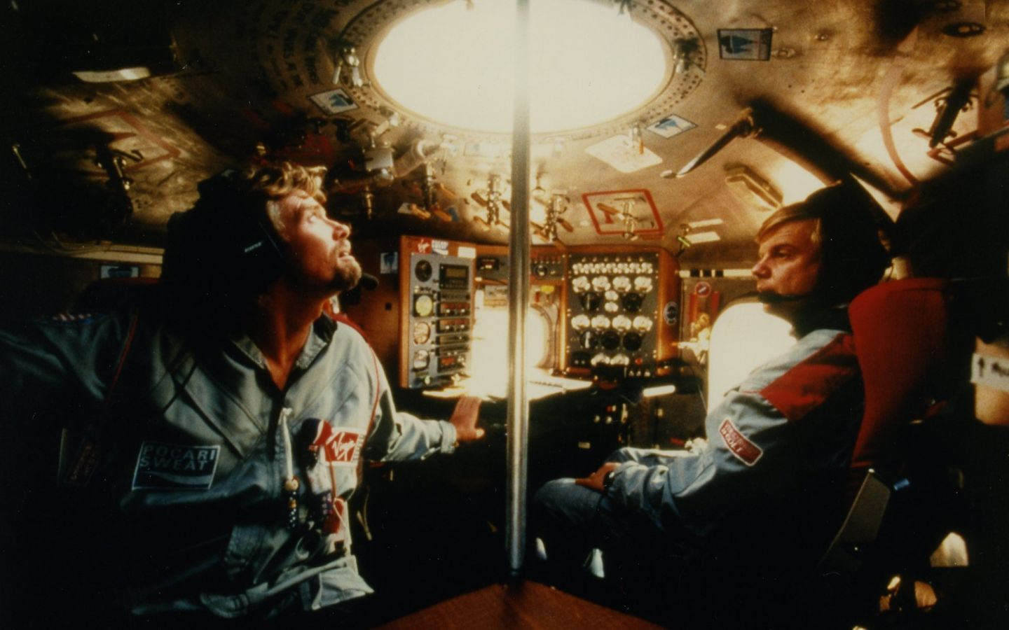 Richard Branson inside a hot-air balloon in 1991
