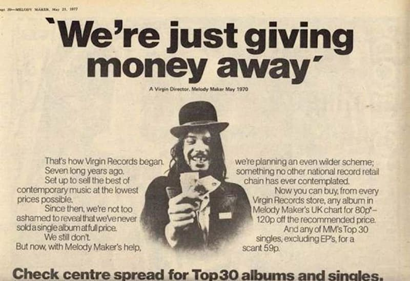 Virgin Records advert with slogan 'We're just giving away money'