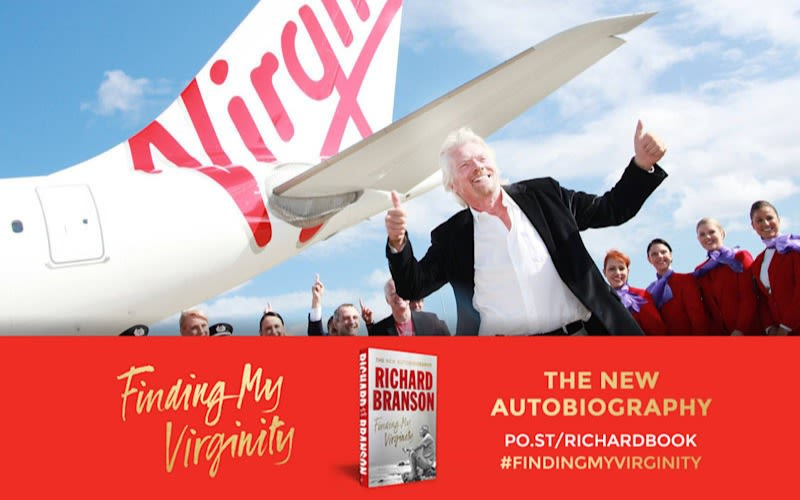 An advert for Richard Branson's autobiography Finding My Virginity