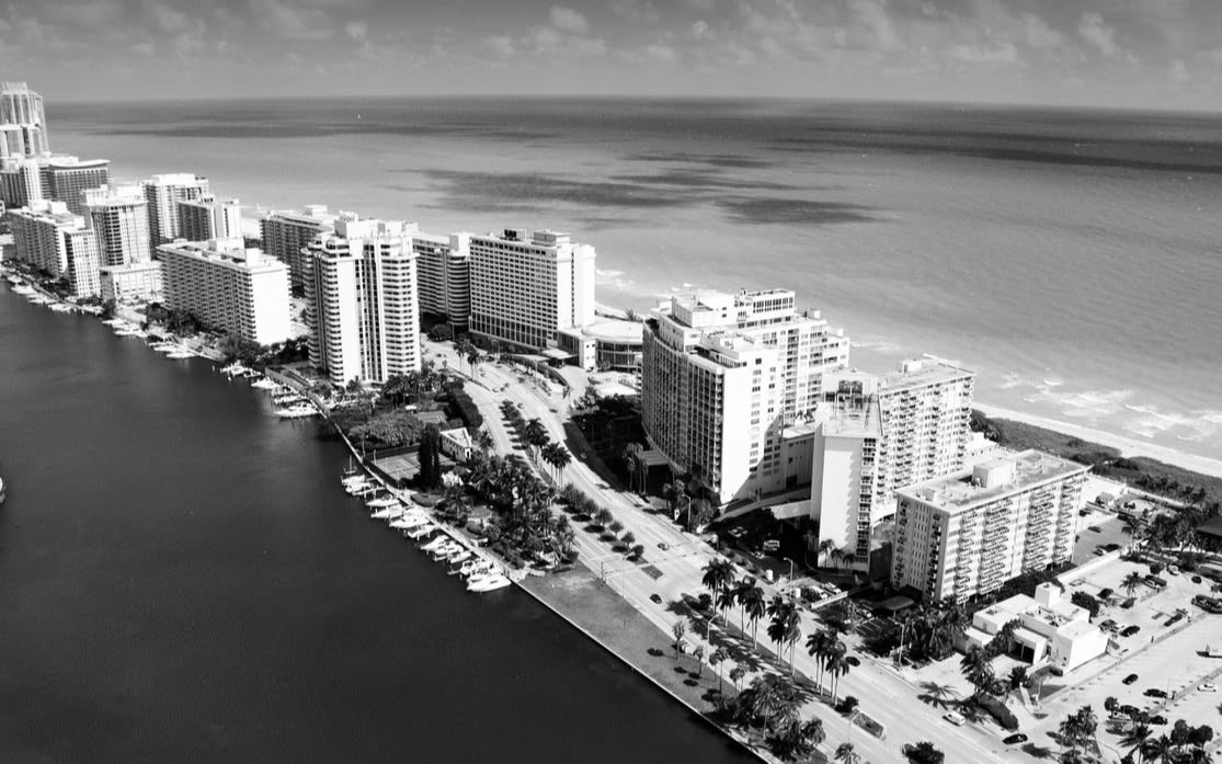 Black and white image of a city next to water