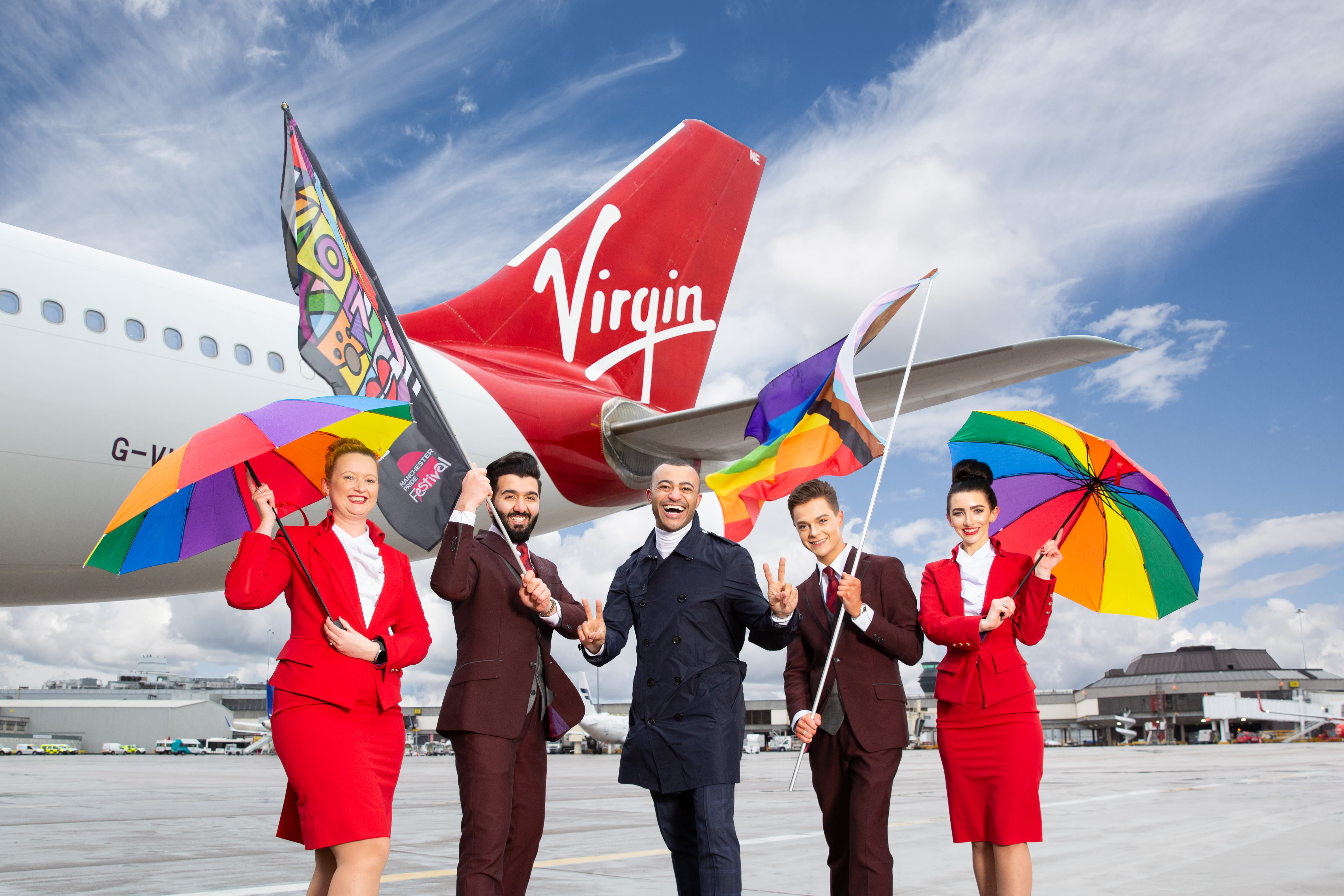 Virgin Atlantic cabin crew celebrating Pride