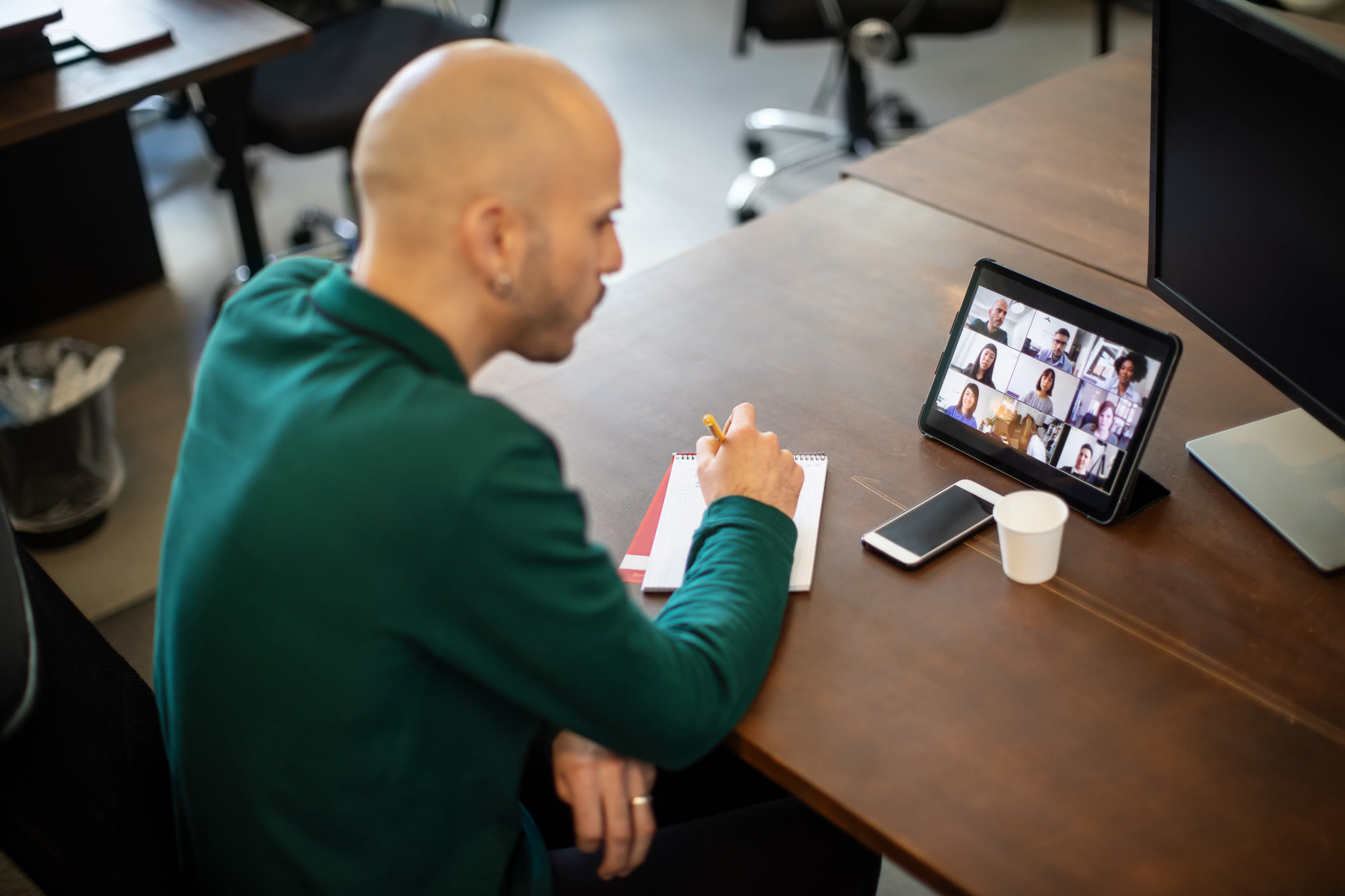 A man on a video conference