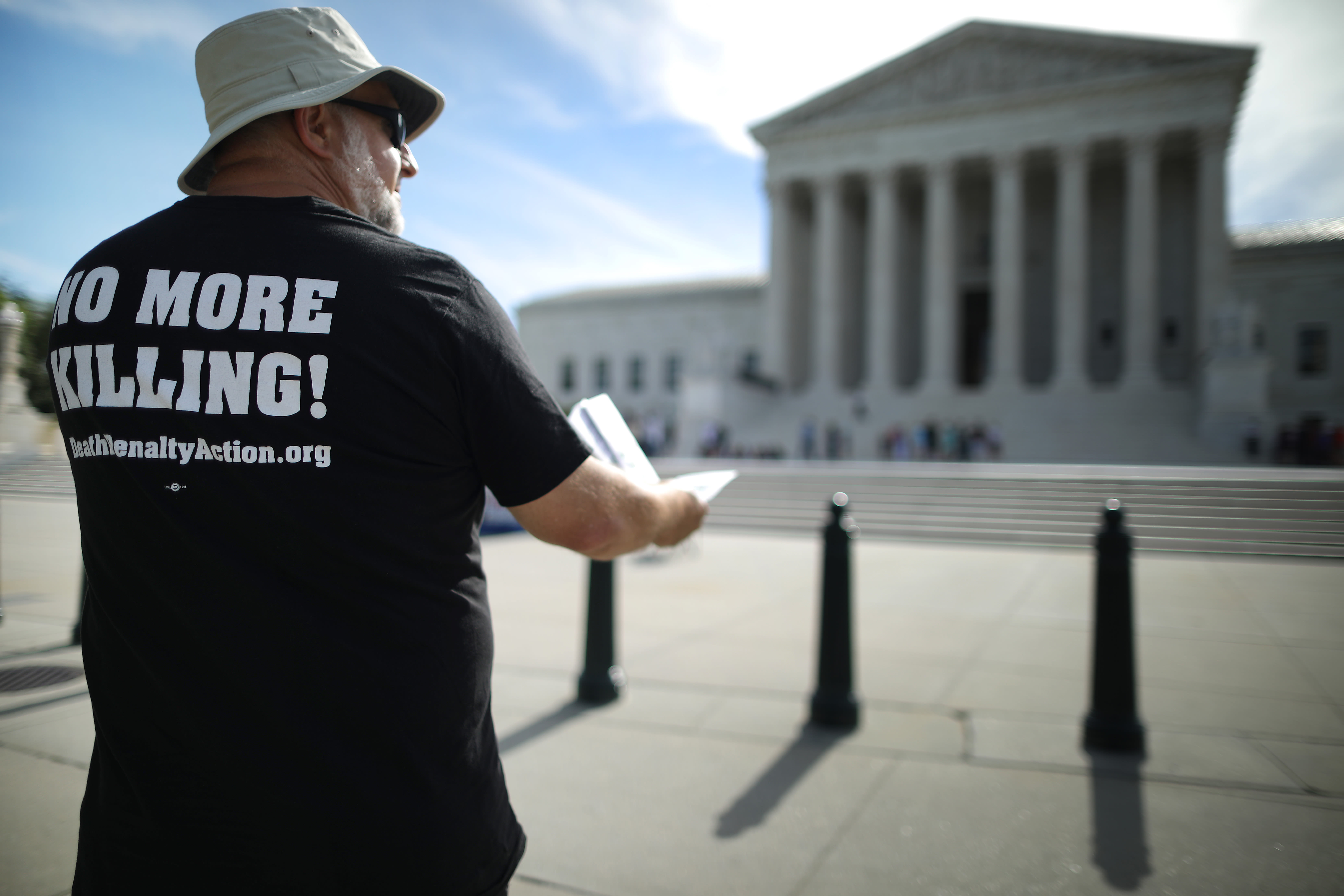 Getty Images | Chip Somodevilla  - Abraham Bonowitz of Columbus, Ohio, joins fellow members of the Abolitionist Action Committee during an annual protest and hunger strike against the death penalty outside the U.S. Supreme Court July 01, 2019 in Washington, DC.