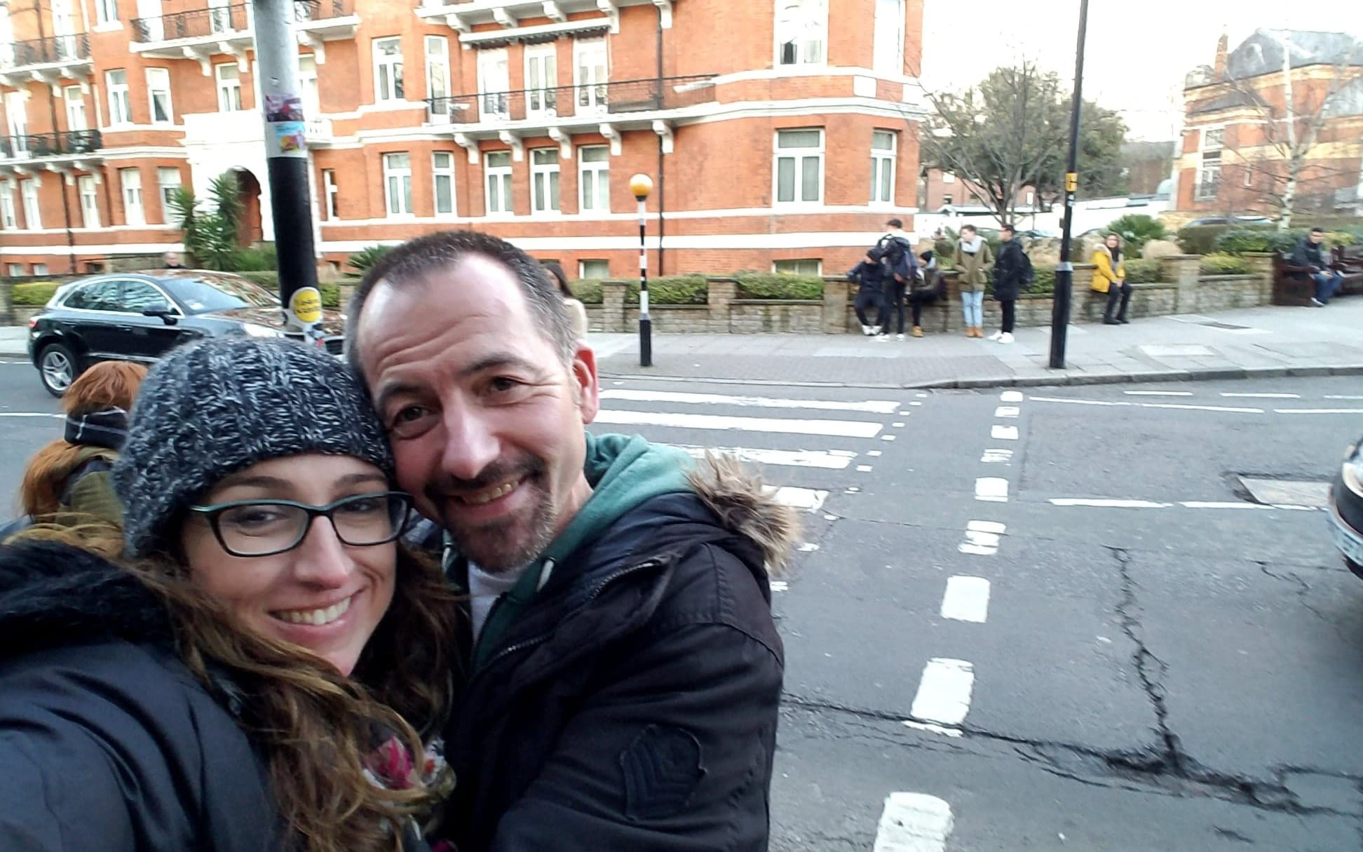 Robin and Kristi at the Abbey Road crossing
