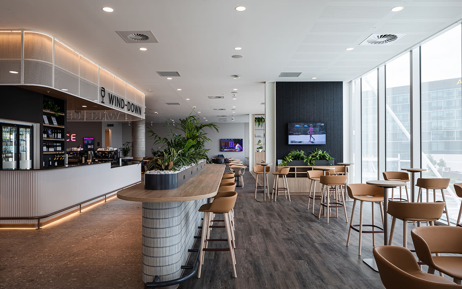 The coffee bar at Virgin Australia's Adelaide Lounge