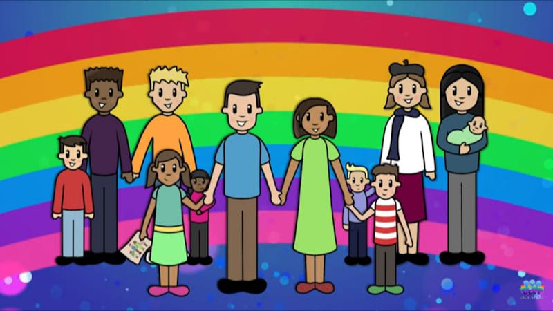 A cartoon drawing of adults and children from all different backgrounds holding hands in front of a rainbow