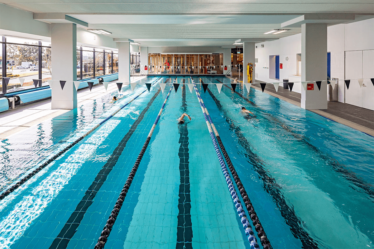 People swimming in a pool at a Virgin Active Australia health club