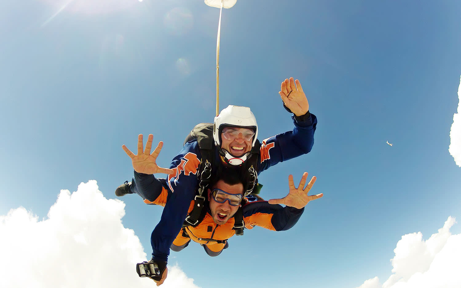 Two people doing a tandem skydive