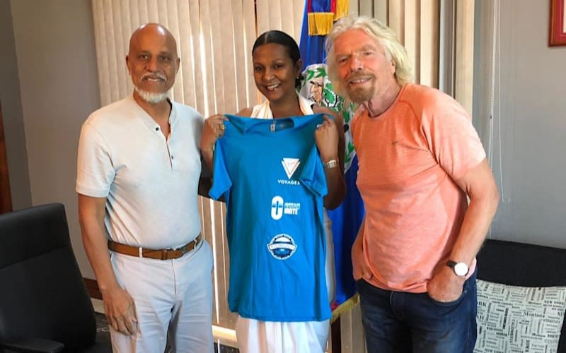 Richard Branson with Prime Minister of Belize, Dean Barrow and his wife
