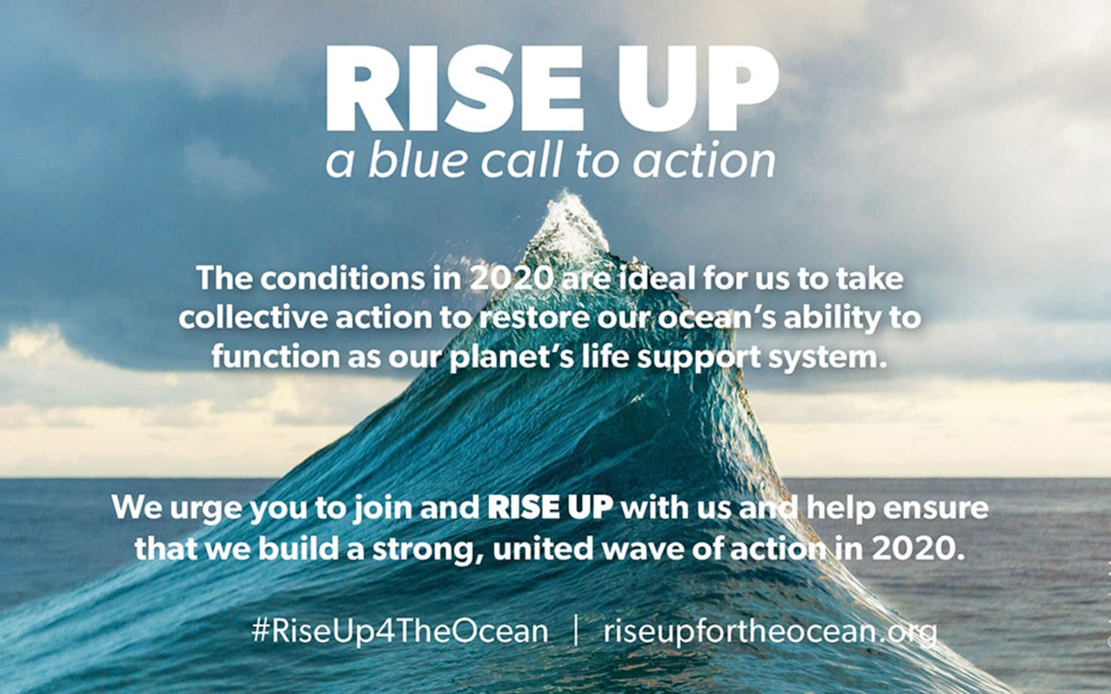 picture of a wave from rise up with a blue call to action information the image