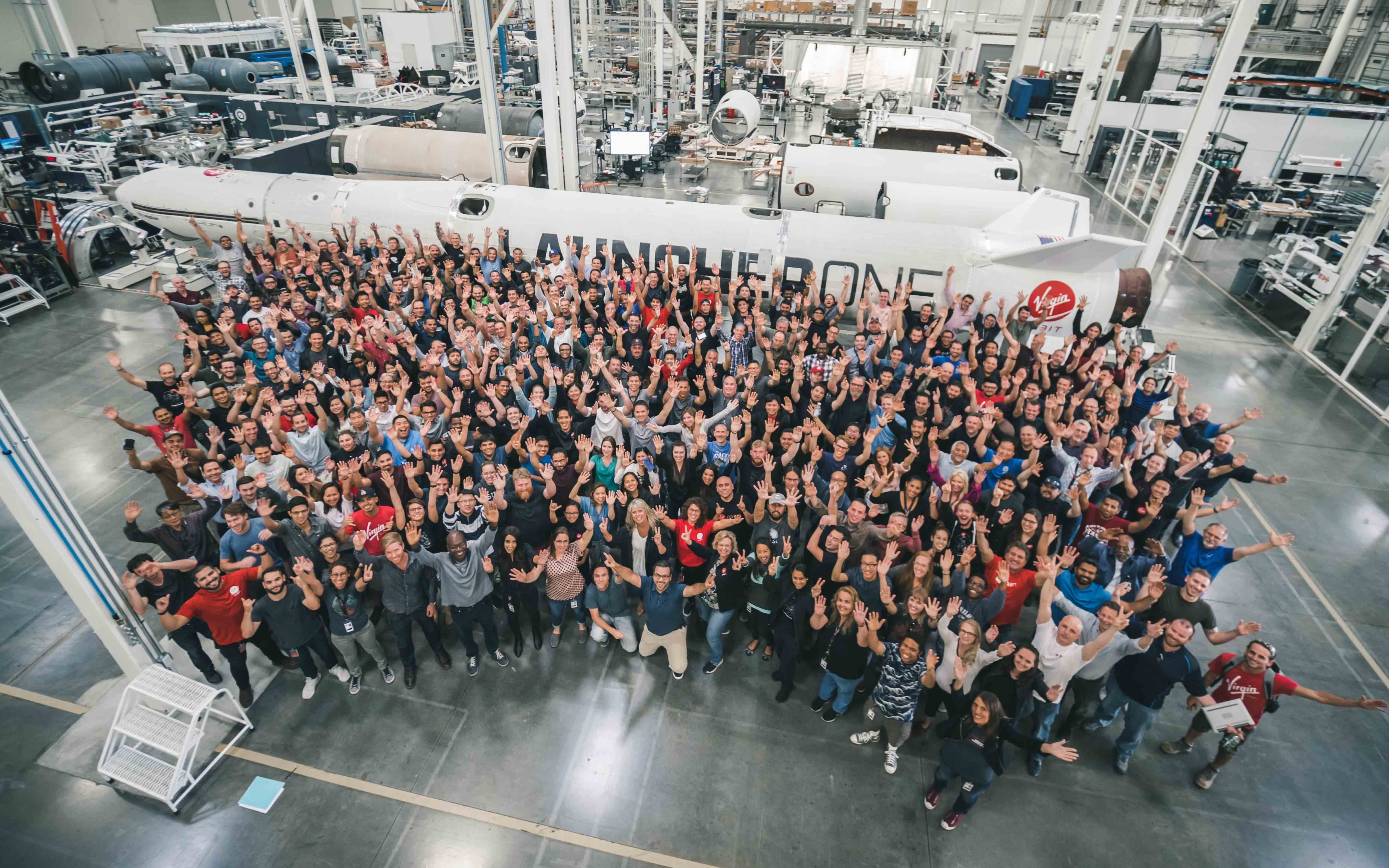 The Virgin Orbit team together at the factory
