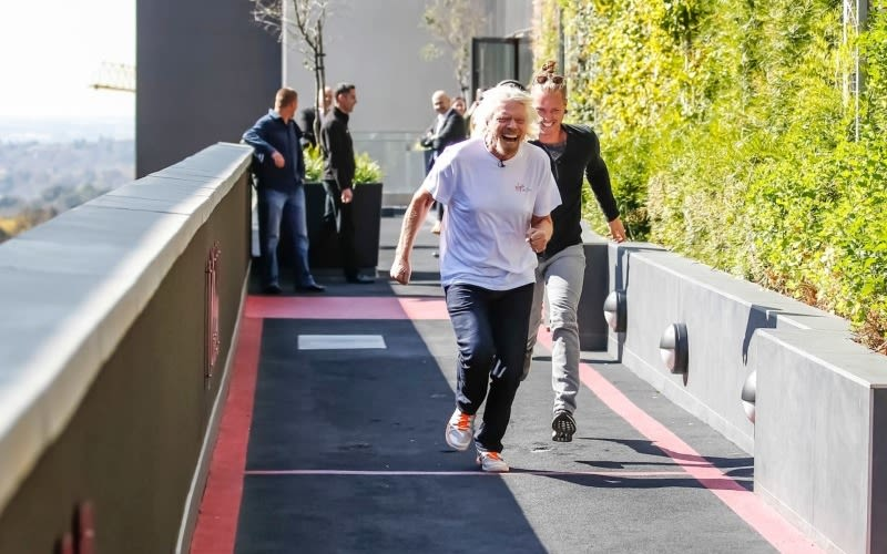 Richard Branson and Sam Branson at Virgin Active South Africa