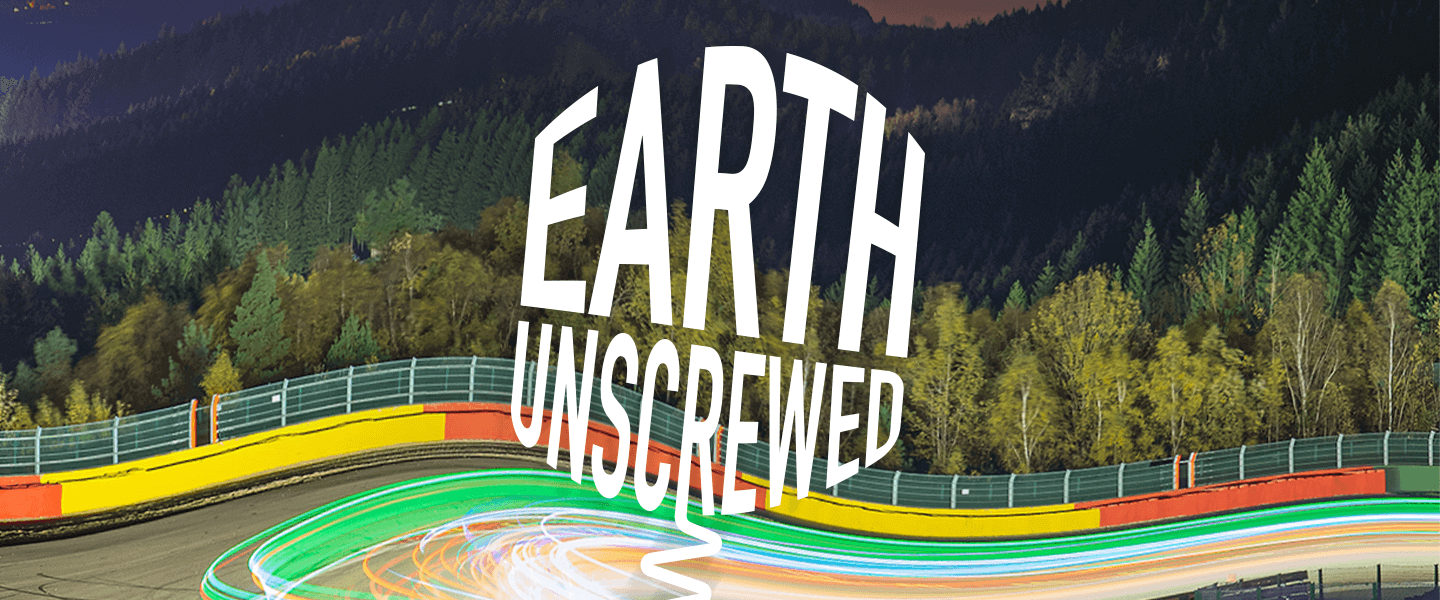 White text reading 'Earth Unscrewed' over a background of a road and trees