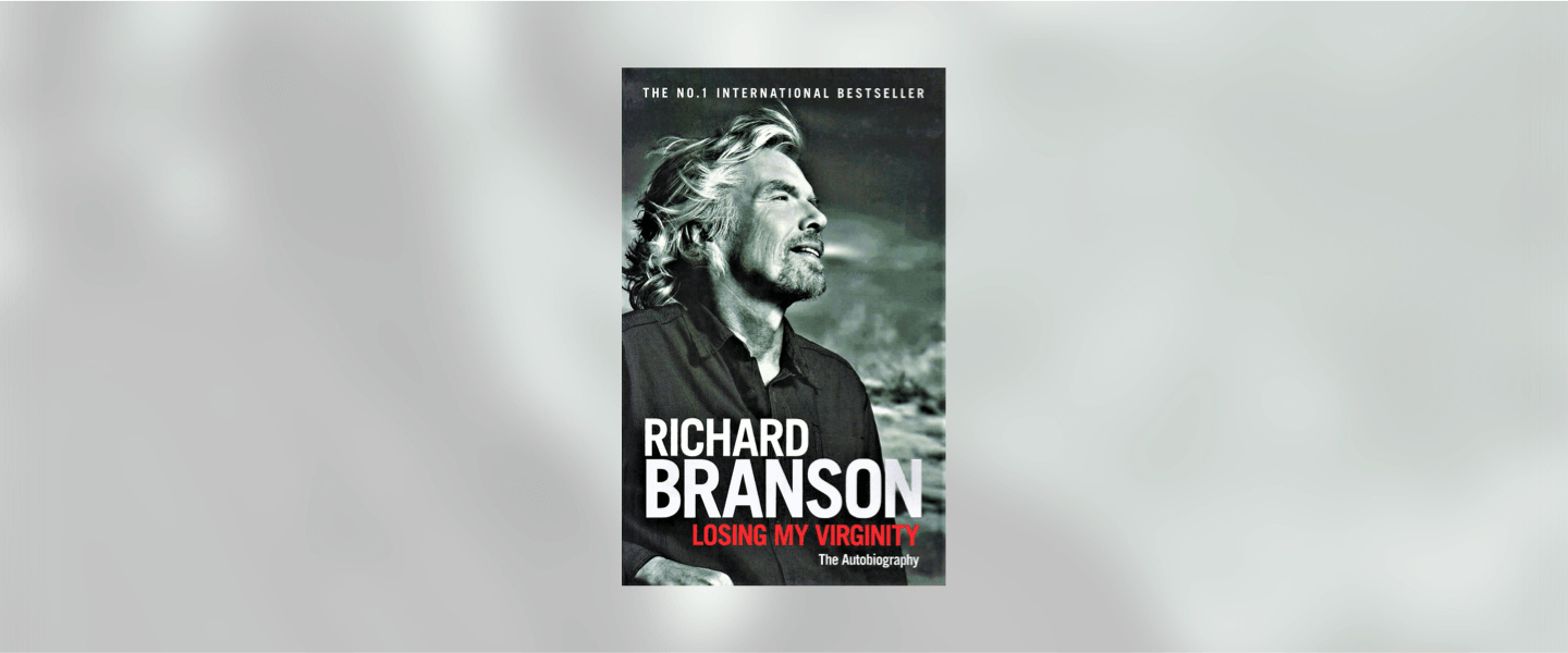 Front cover of Richard Branson's autobiography Losing My Virginity. A black and white photo of him looking into the distance