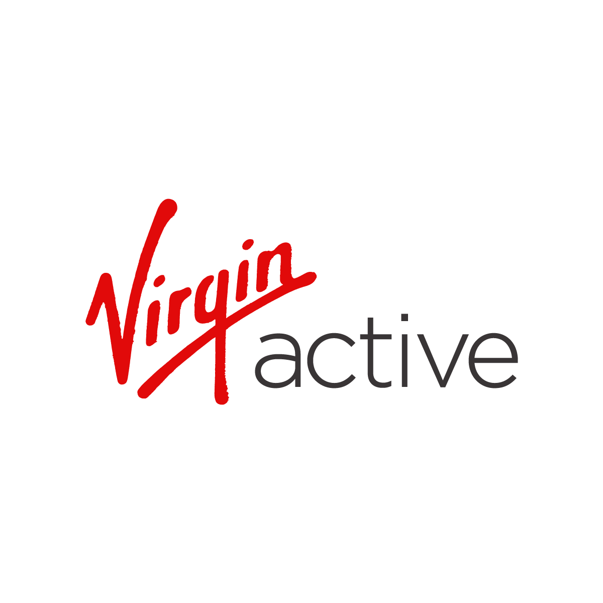 The Virgin Active logo. Red text says Virgin, black text says Active.