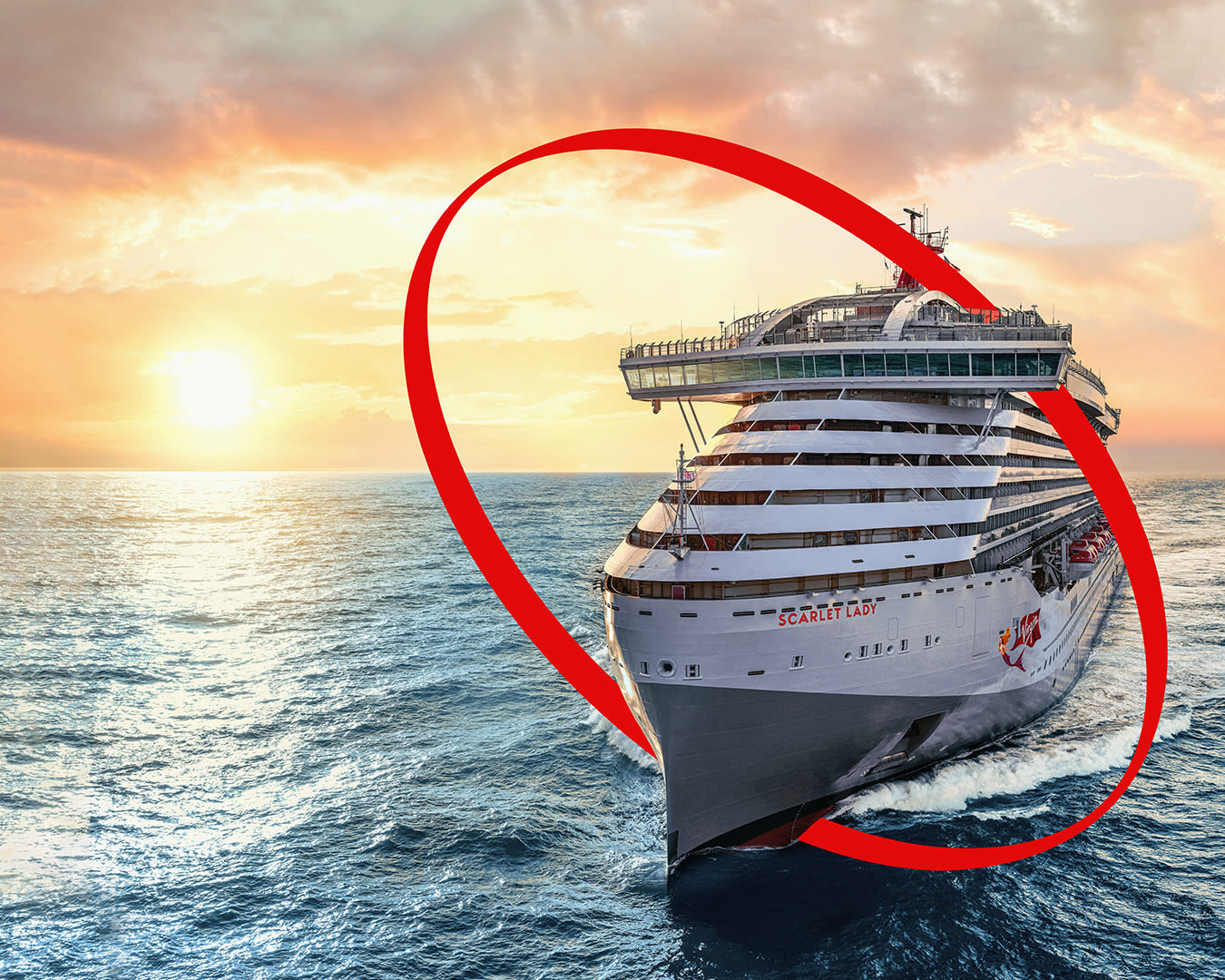 Virgin Voyages ship Scarlet Lady with the Virgin Red inner circle