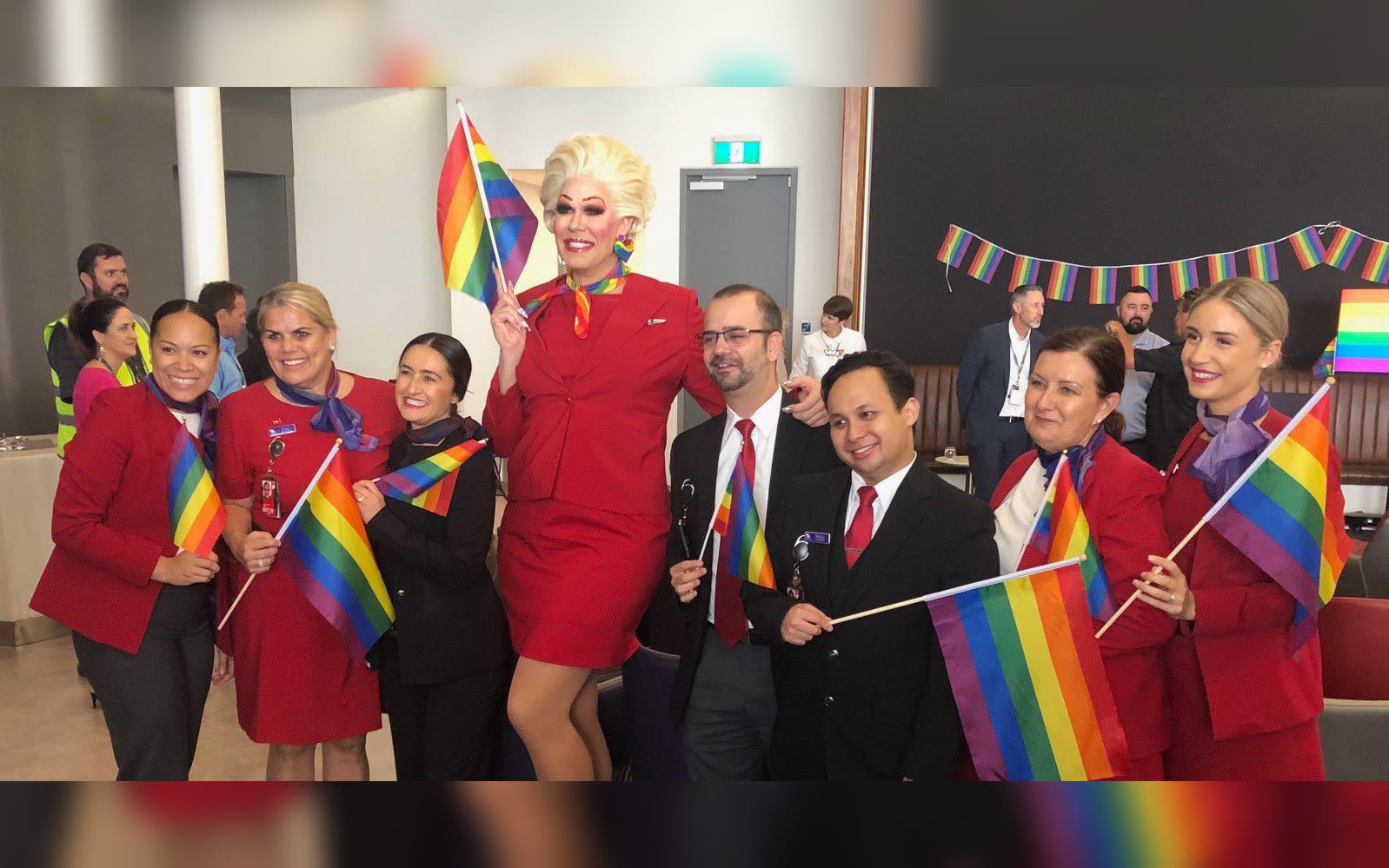 Virgin Australia cabin crew preparing for the Pride Flight