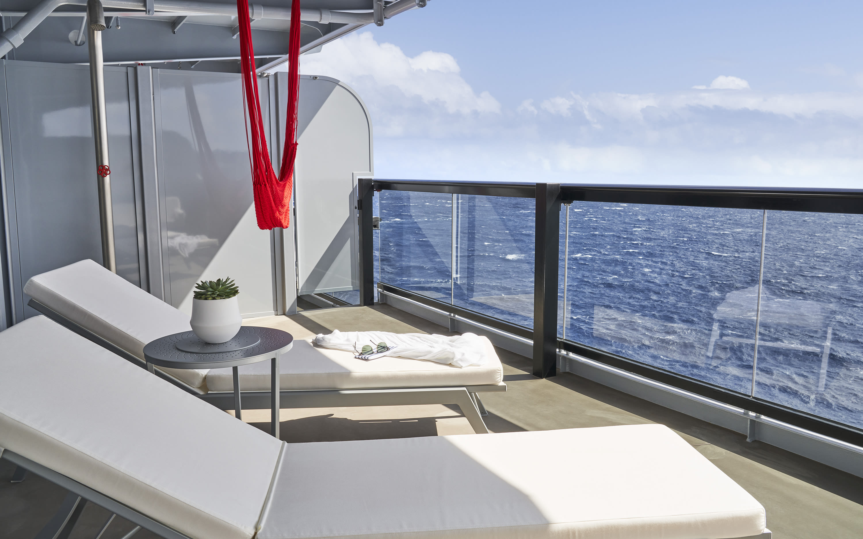 Balcony area in a Virgin Voyages' suite