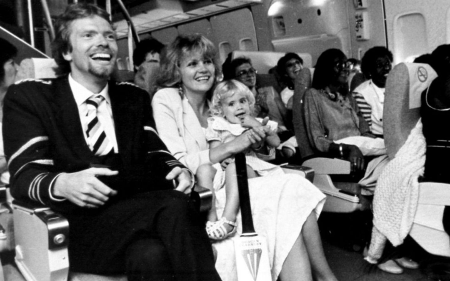 Richard Branson with his wife Joan and their daughter Holly on the inaugural Virgin Atlantic flight
