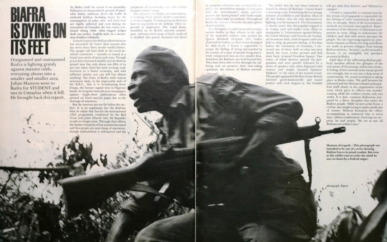 Image of a Student Magazine article entitled Biafra is dying on it's feet