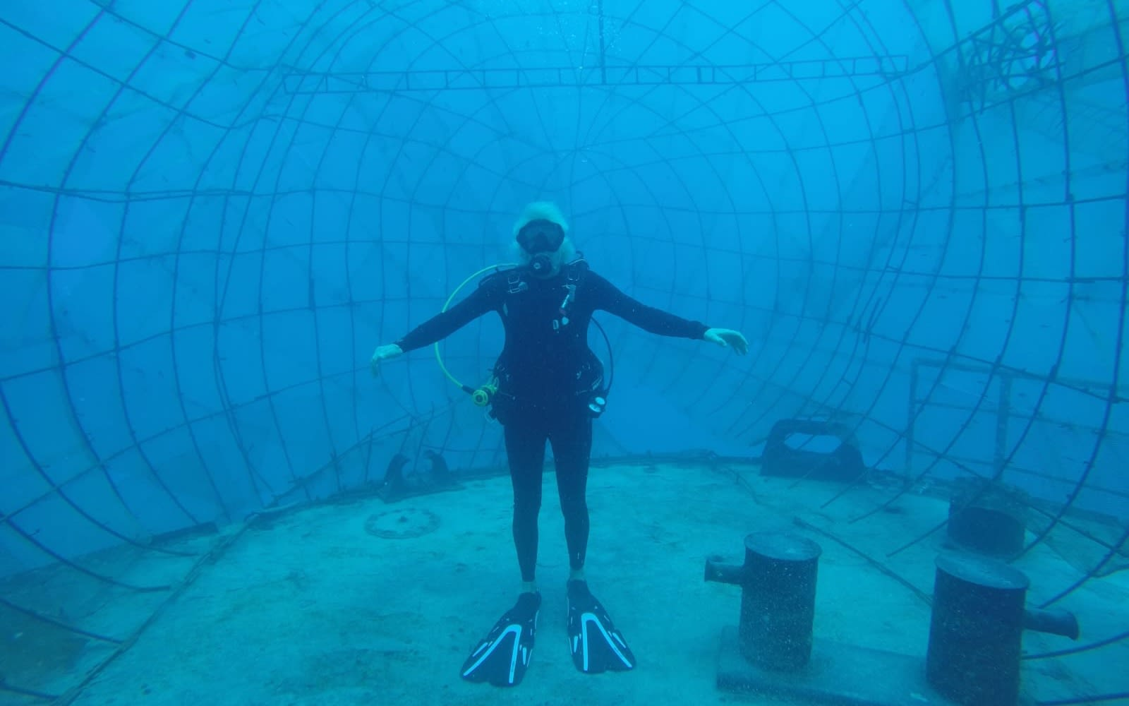 Richard Branson scuba diving in large cage