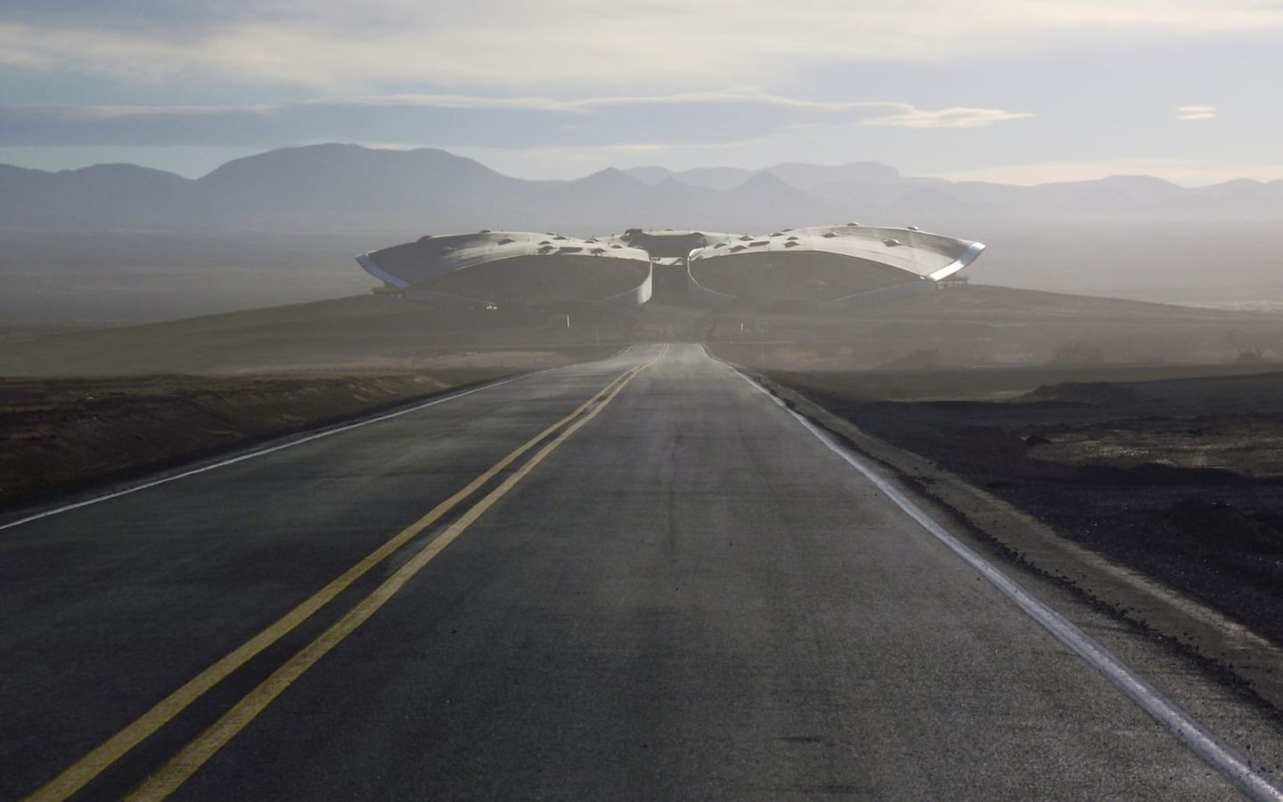 View of Spaceport America from down the runway