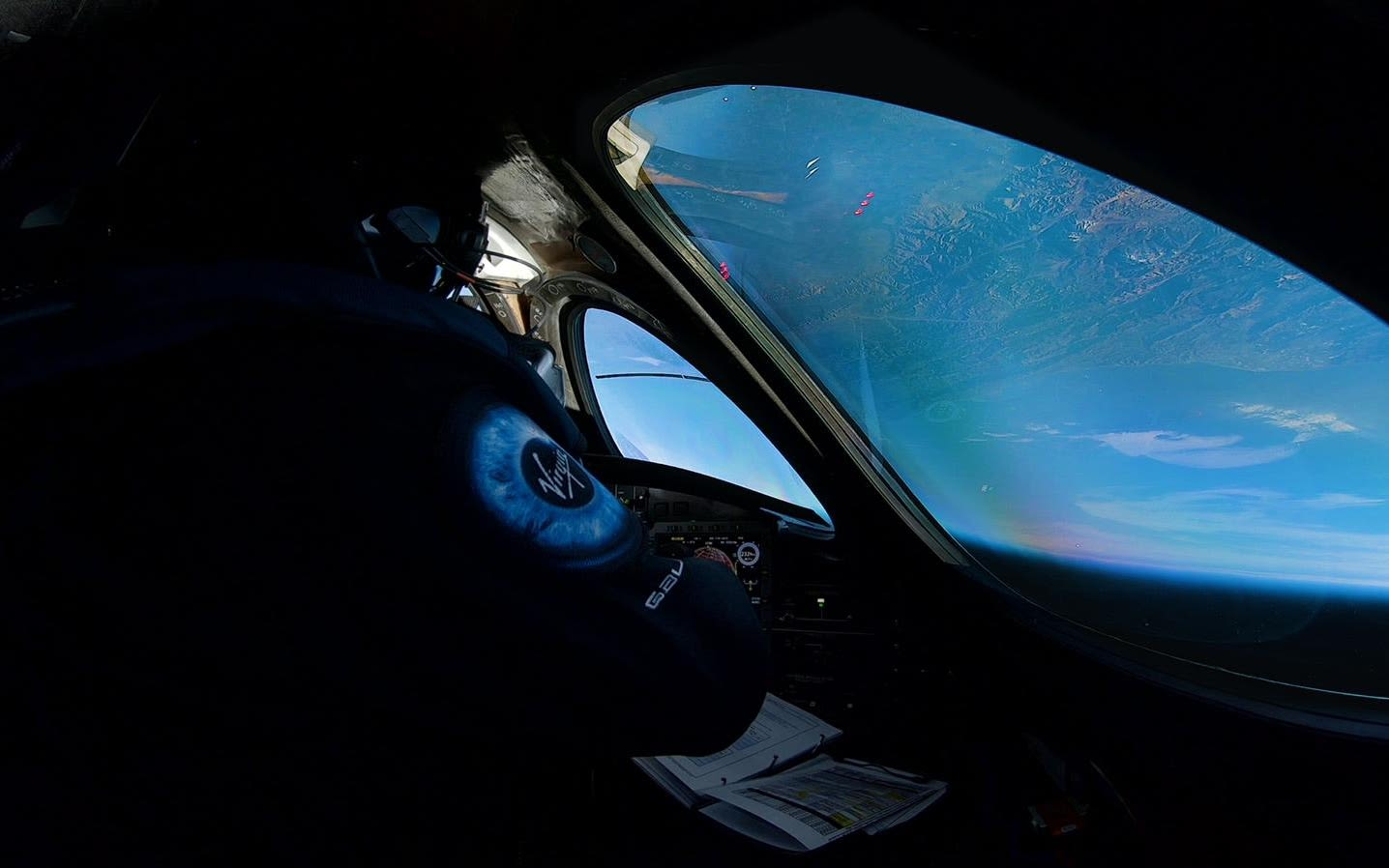 View from the window of Virgin Galactic in space