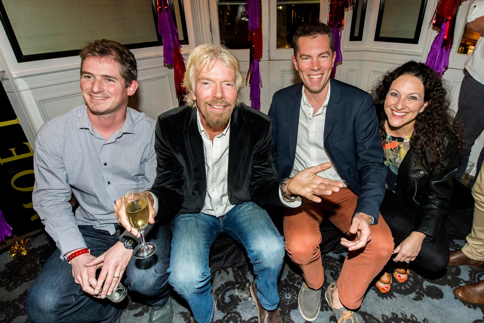 Richard Branson with members of the Virgin Australia team
