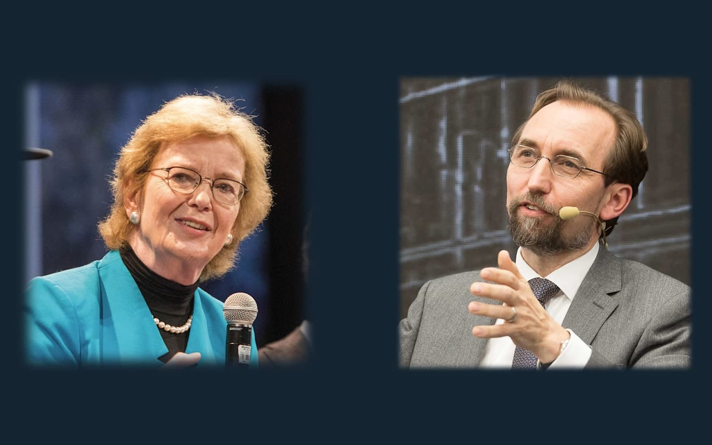 picture of , Mary Robinson and Zeid Raad Al Hussein with mics