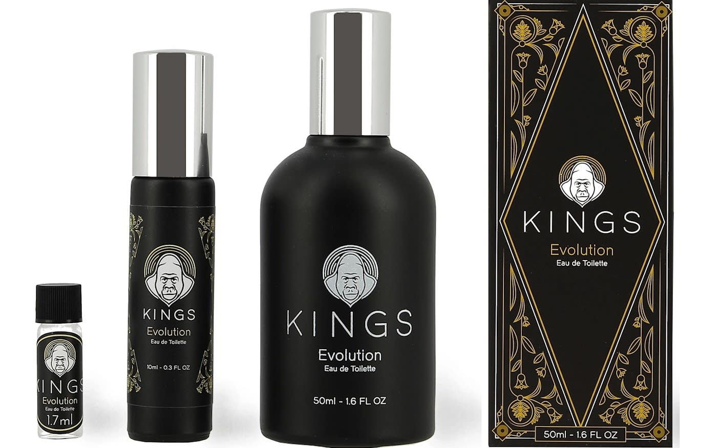 Four bottles of different Kings products lined up. The packaging is black, silver and gold