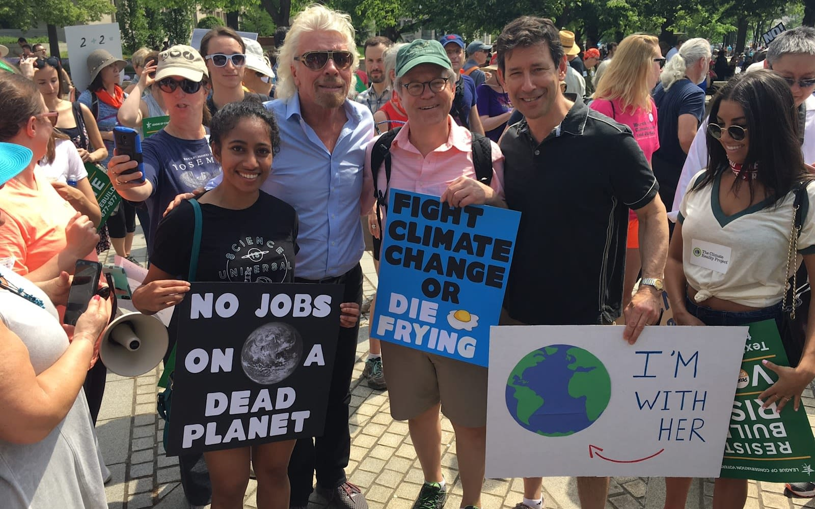Richard Branson at the climate march in Washington, DC with other marchers