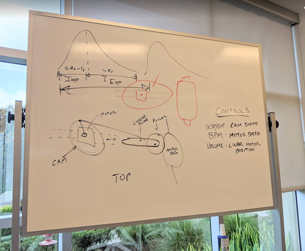 A whiteboard with the original design of the Virgin Orbit bridge ventilator