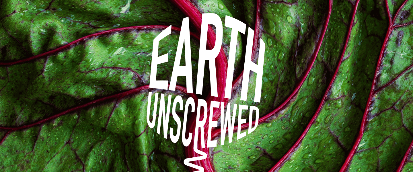 A close up view of a leaf with white text reading 'Earth Unscrewed' written over it