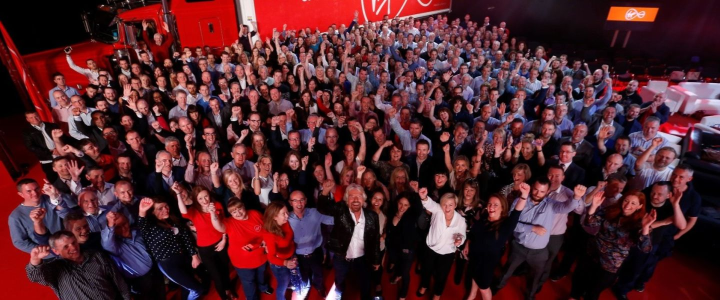 Richard Branson with the Virgin Media Ireland team
