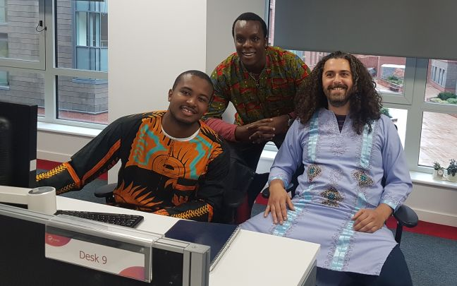 Ugo Eboh with colleagues at Virgin Money