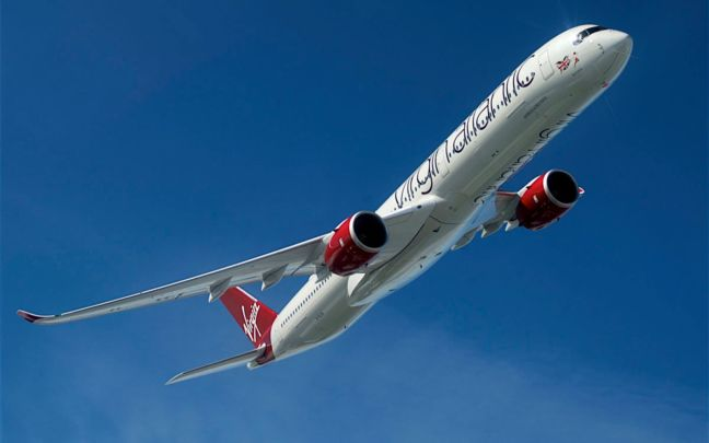 A Virgin Atlantic plane flying